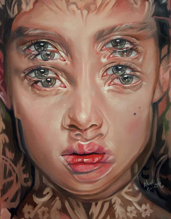 "Dubbed the ""Queen of Double Eyes,"" artist Alex Garant depicts beautiful women that are multi-eyed and in double vision. The gorgeously-painted oi"