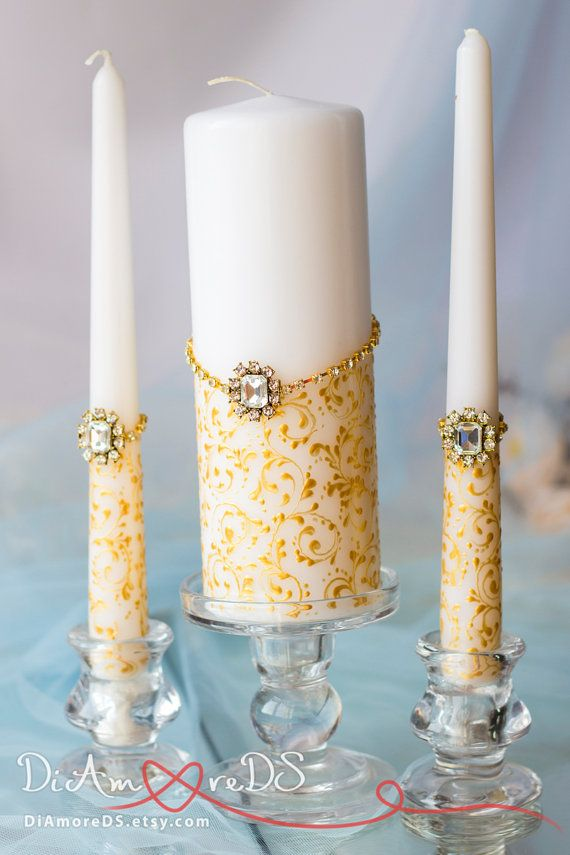 crystal and gold painted handmade wedding unity by diamoreds