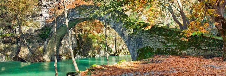 A typical Epirus one arc bridge in Zagorochoria Epirus Greece