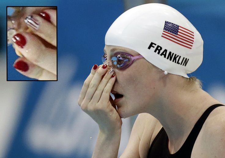 Even Women of Olympic Swimming are sporting their nail art in the 2012 London Games. #MissyFranklin, USA. - DIY nail art designs.