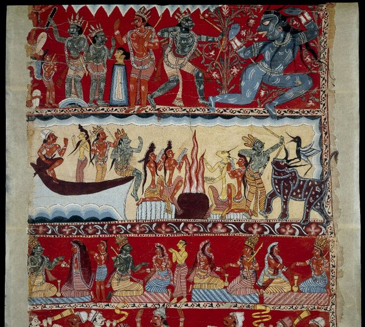 Scroll-painting. Pata in eight registers, depicting scenes from the Ramayana