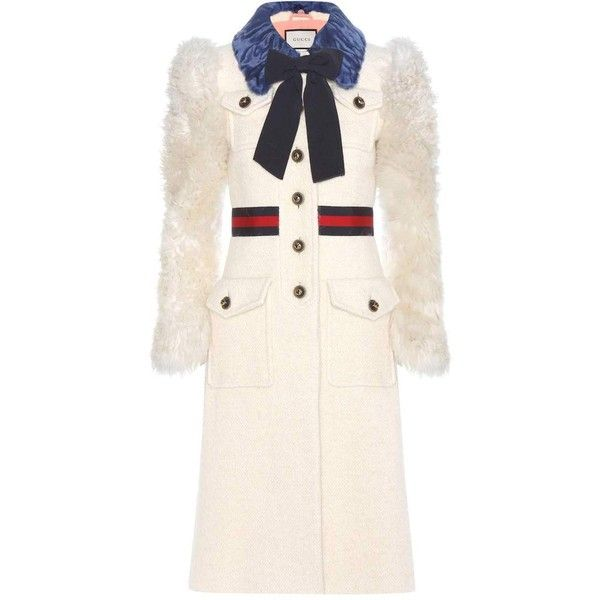 Gucci Shearling-Trimmed Cotton, Mohair and Alpaca Coat ($6,980) ❤ liked on Polyvore featuring outerwear, coats, white, gucci, white coat, cotton coat, alpaca coats and alpaca wool coat