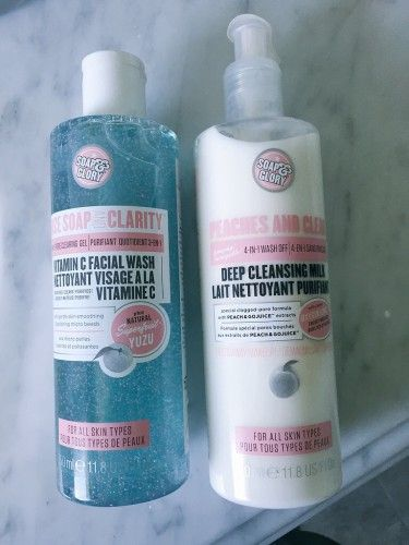 New Cleansers from Soap and Glory. Peaches and Clean Cleansing Milk, and Face Soap and Clarity