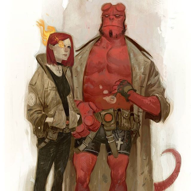 Instagram media by juliantotinotedesco - The beauty and the beast. #hellboy #lizsherman #darkhorse #comics