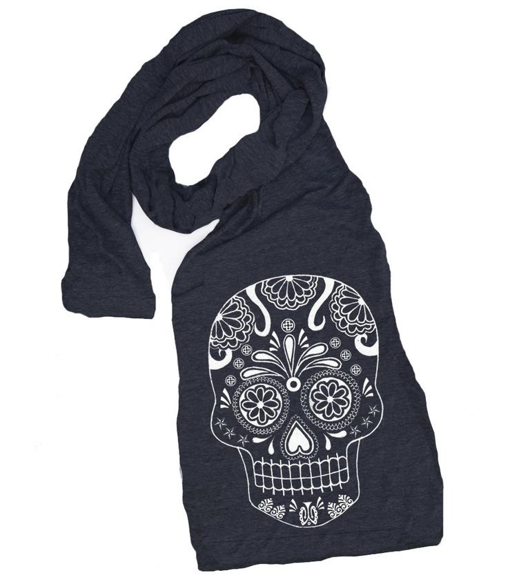 SUGAR SKULL scarf american apparel tri blend t by skipnwhistle