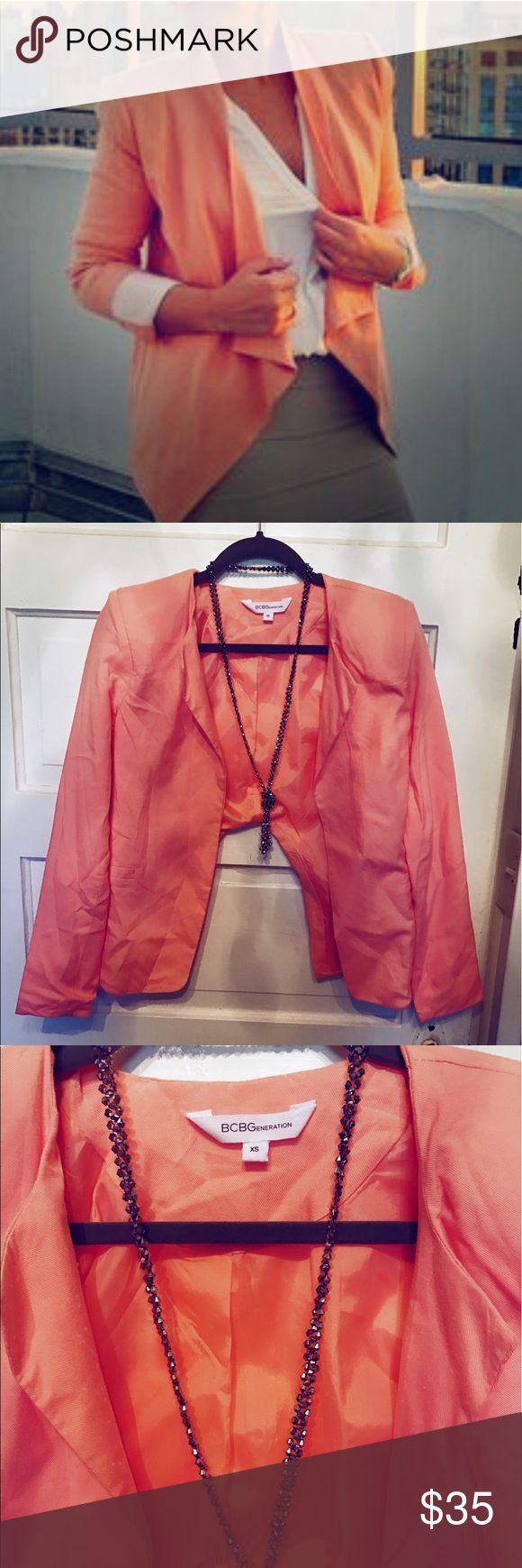 Peach blazer This gorgeous blazer is in good condition, just needs to be ironed. Perfect to dress up any summer outfit! BCBGeneration Jackets & Coats Blazers
