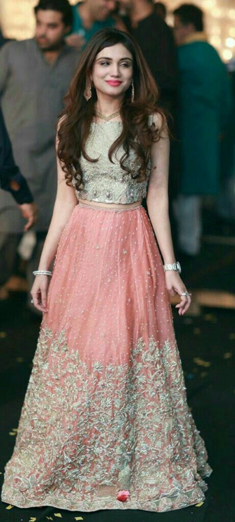 Pretty silver top and pink lehenga