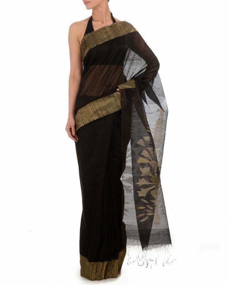 Jet Black Sari with Woven Pattern #Sari #Saree #Indian #Ethnic #Traditional