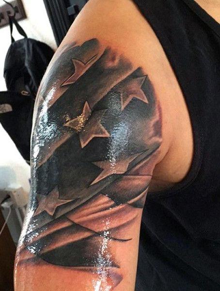 Mens Black American Flag Tattoo On Arm