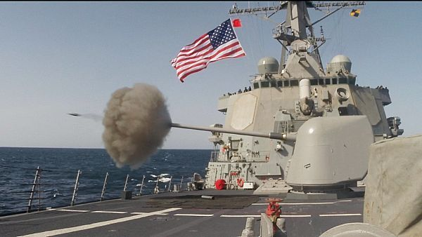 USS Curtis Wilbur (DDG 54) fires her 5-inch gun during live-fire drills March 1st 2015. Curtis Wilbur is part of DESRON 15 Yokosuka. (U.S. Navy photo by Chief Hospital Corpsman Andres Santamaria/Released)