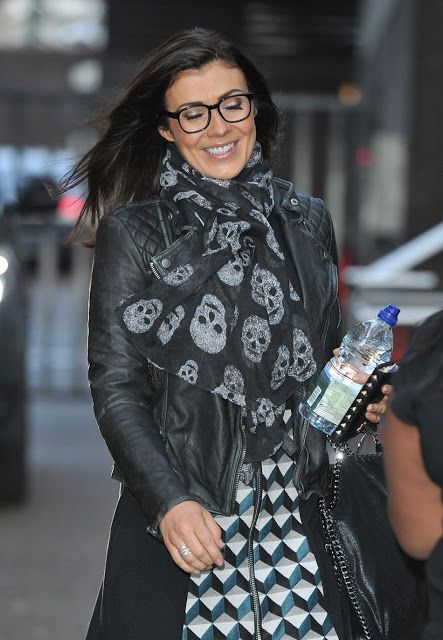 Surprising Celebrities In Leather Kym Marsh Wears A Black Leather Jacket Hairstyles For Men Maxibearus
