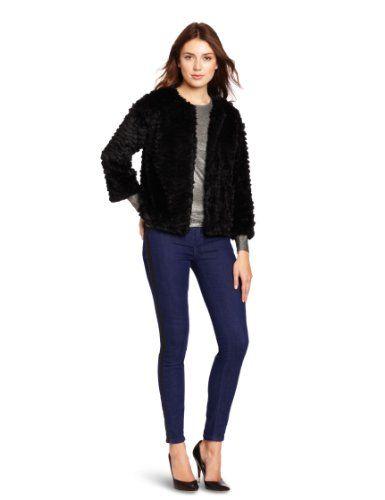 Kensie Women`s Cut Faux Fur Jacket