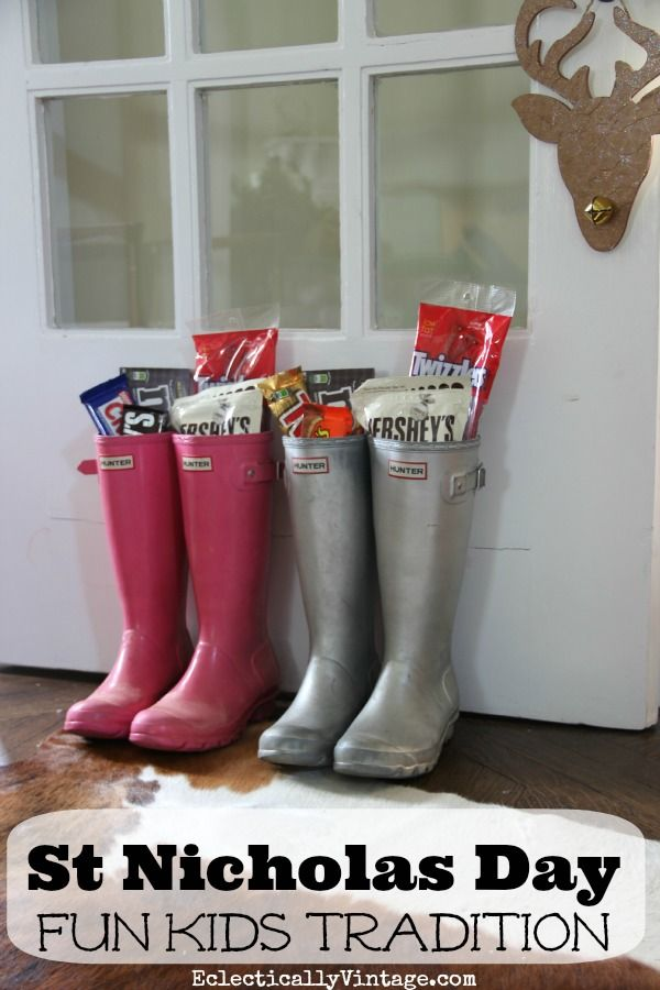 On the night of December 5, St Nicholas Day (Nikolaustag in German), is celebrated by having kids put their shoes outside the door.