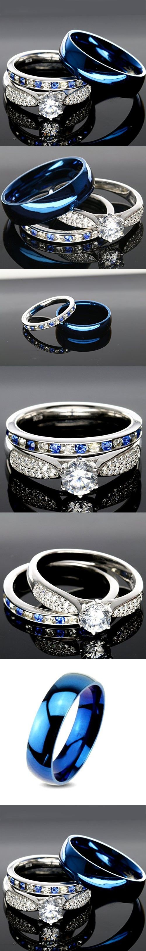 His And Hers 925 Sterling Silver Blue Saphire Stainless Steel Wedding Rings  Set Blue #sp24blmsbl