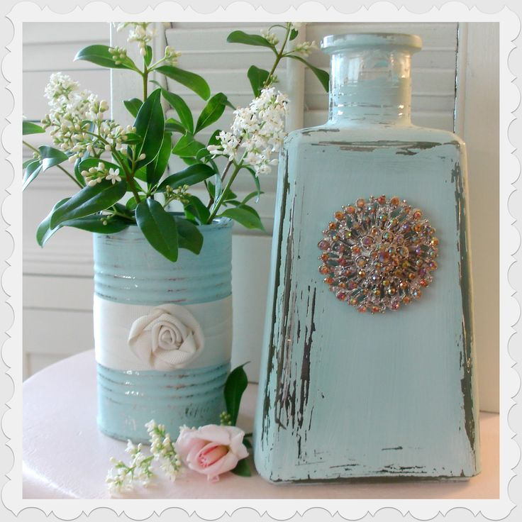 Painted and distressed tin can and tequila bottle! Amazing!!! from Fox Hollow Cottage