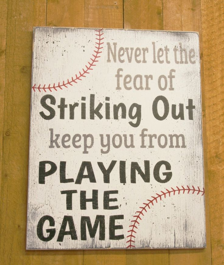 Never Let The Feal Of Striking Out Keep You From Playing The Game Wood Sign Boys Bedroom Sign Sports Inspirational Sign Wall Art Wall Decor