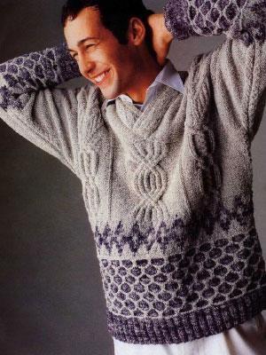 Мужской вязаный свитер со схемой и описанием к работе