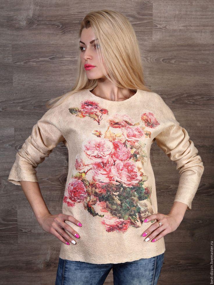 """Купить Свитер """" Акварельные розы"""" - бежевый, свитер, свитер валяный, валяный свитер"""