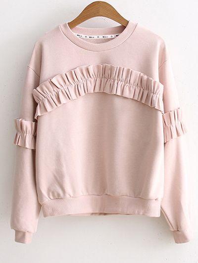 Round Collar Ruffles Sweatshirt