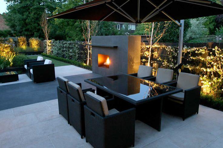 Landscape lighting modern outdoor room