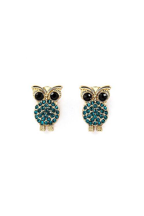 Crystal Owl Earrings
