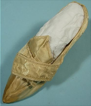 Cream satin shoe, possibly belonging to Abigail Adams, probably American, c. 1780.