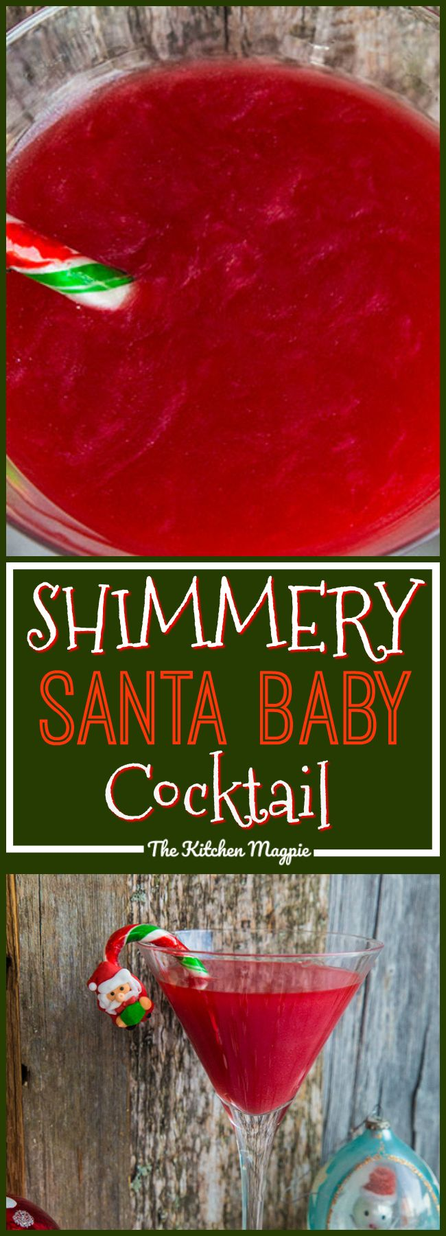 What's red, sparkly & tastes like strawberries? My newShimmery Santa Baby Cocktail! This is THE cocktail for Christmas! Only 4 ingredients!  Recipe from @kitchenmagpie #cocktail #christmas #boozy #drinks #party #recipe #strawberry  via @kitchenmagpie