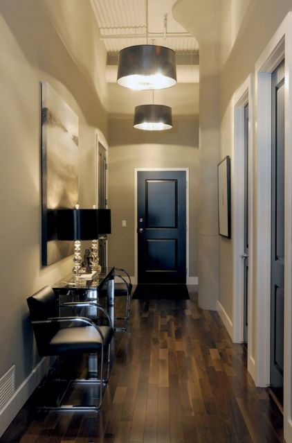 Here's a surprise: Did you know that painting your interior doors black instantly makes your space look more expensive? This simple change can make even inexpensive doors look like something truly special:contemporary entry by Atmosphere Interior Design Inc.: Idea, Black Doors, Floor, Doors Black, White Trim, Interior Doors, Entryway