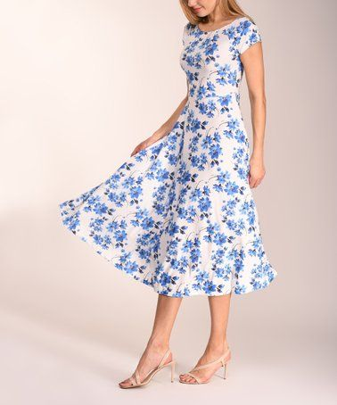 abafc71b82b1d Another great find on  zulily! Blue   White Floral Fit   Flare Dress ...