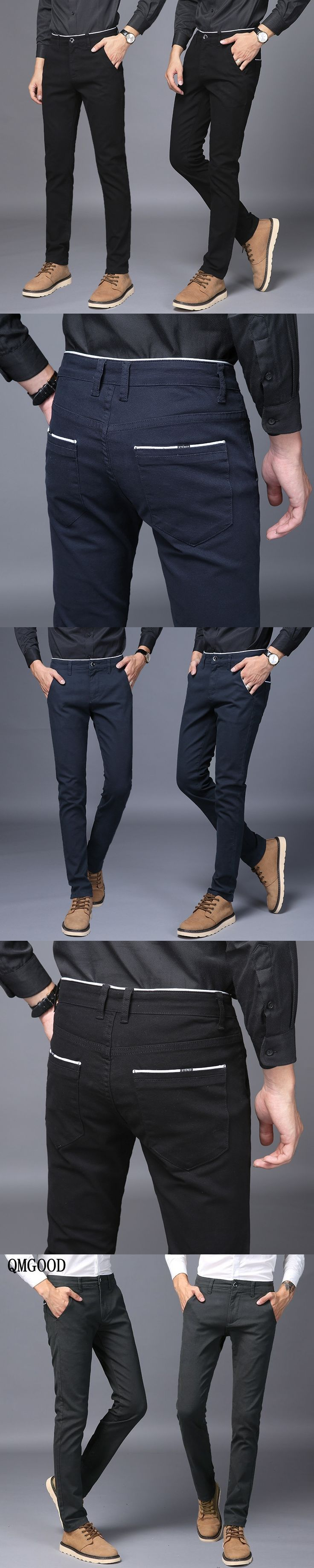 QMGOOD 2017 Hot Sales Mens Pants Cotton Slant Pocket Slim Straight Trousers Elasticity Stretch Fashion Pants Business Casual