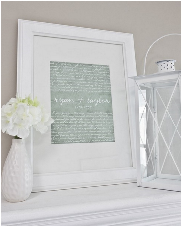 Vows printed and framed.  Love the idea and the decor in this picture.
