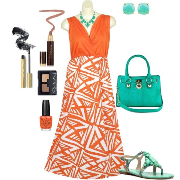 orange and teal plus size outfit