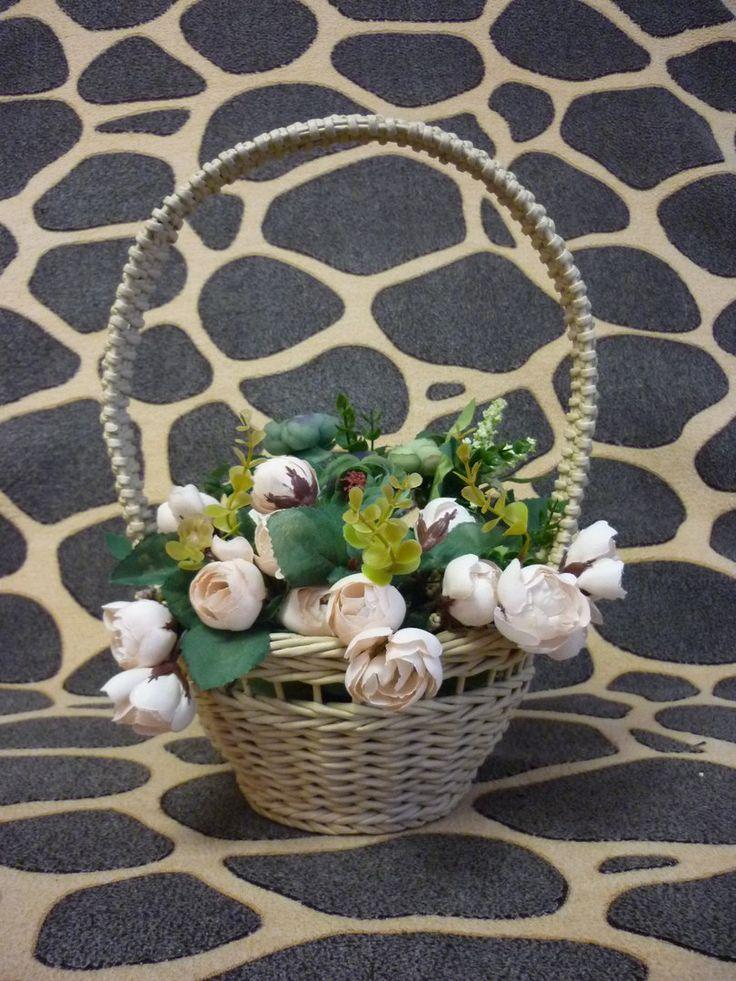 корзинка для цветочной композиции ,плетение из бумажных трубочек