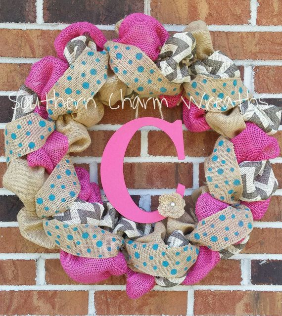 18 hot pink & gray chevron burlap initial wreath. Adorned with cream/gray chevron burlap, polka dot ribbon, and your choice of center hanging initial with burlap flower.  I personally make each wreath, and take great pride in my strict attention to detail. My wreaths are an excellent way to welcome your visitors, starting outside!  Wreaths are the perfect gift, for birthdays, anniversaries, or just to show you care!  Please leave your initial choice at checkout. If you do not see exa...