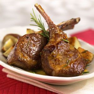 Rosemary-Rubbed Lamb Chops This apricot-glazed lamb recipe is sophisticated enough for dinner parties. Mustard and rosemary add savory flavor to the sweet glaze.