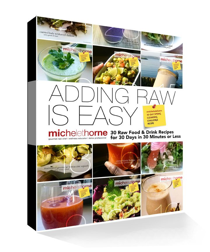 You can add raw beverages and raw foods each day for 30 days with these recipes that use organic fruits and veggies, sprouted seeds and super foods to add nutrients to your day!