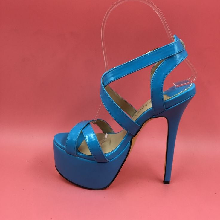 73.00$  Watch here - http://alic5s.worldwells.pw/go.php?t=32698384862 - Blue Women Sandals Platforms Patent Leather Platform Shoes True To US Size 4-15 Sandals Sapato Feminino Cross Straps Real Image