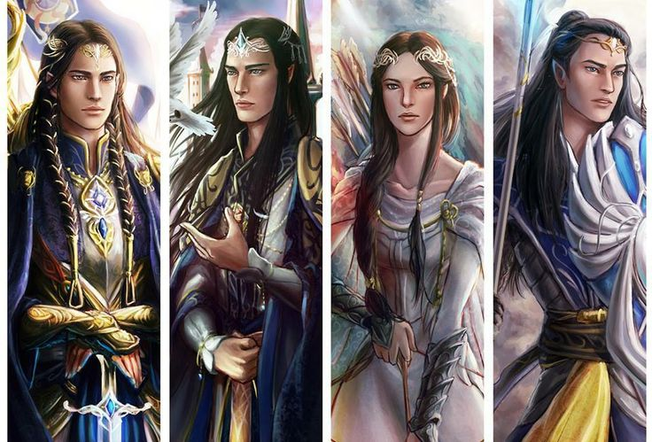 The sons of Fingolfin.   From left to right: Fingon the Valiant, Turgon the Wise, Aredhel Irissë and Arakáno (a.k.a. Argon):
