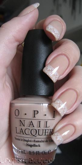 Lace French tip nail art with OPI Samoan Sand - Konad White - Konad m57. #nails #nailart #nailpolish #manicure