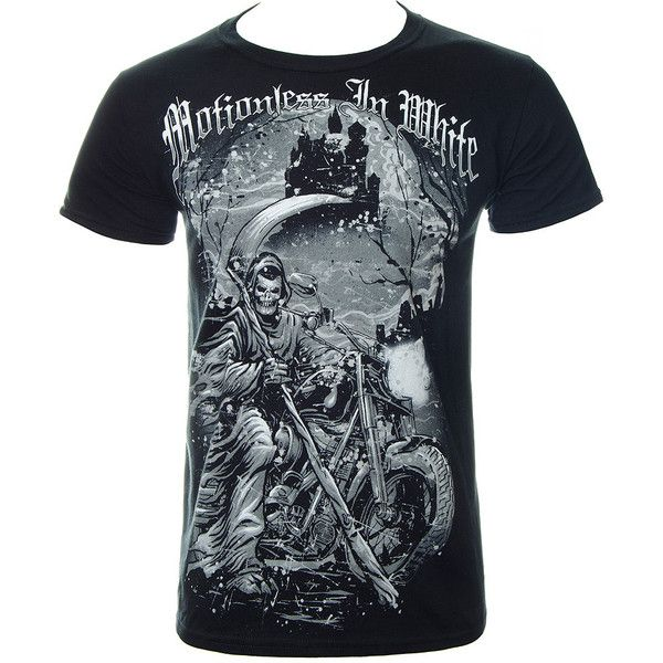 Motionless In White Reaper T Shirt (Black) ($14) ❤ liked on Polyvore featuring tops, t-shirts, rock t shirts, metal tees, metal top, metal t shirts and rock tops