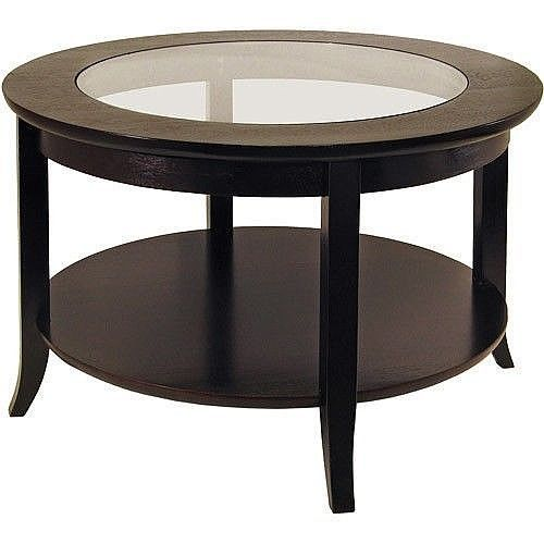 Round Modern Wood Coffee Table With Glass Top 30 x 30 x 18.03 Inches New         #DealsToaday #Modern