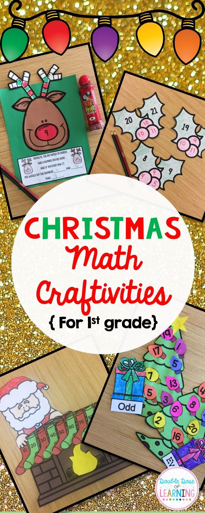 Challenge students this holiday season by incorporating interactive seasonal extensions to your lesson with craftivities or math art. You will find all you need for 4 different easy-to-prep craftivities which will make the perfect Christmas hallway or bulletin board display! Ways to Make Ten, Skip counting by 2's, 3's, 5's and 10's, Even and Odd numbers, and Addition are the concepts you will find within this resource which are aligned to the common core standards for first grade