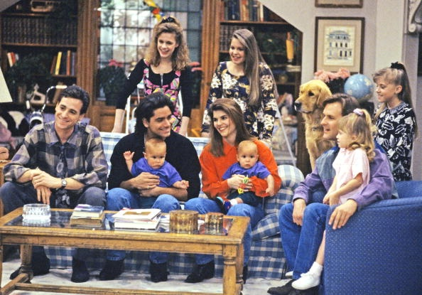 Full House - Season 5 'Captain Video, Part Two' 5/12/92, from left: Danny (Bob Saget), Kimmy (Andrea Barber), D.J. (Candace Cameron), Jesse and Becky (John Stamos and Lori Loughlin, holding twin sons Nicky and Alex, played by twins Blake/Dylan Tuomy-Wilhoit), Comet (dog), Joey (Dave Coulier), Michelle (Mary Kate/Ashley Olsen) and Stephanie (Jodie Sweetin)