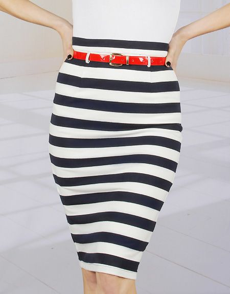 Pinup Clothing   Broad Minded Navy Blue & White Striped High Waist Pencil Skirt