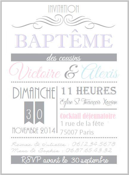 Invitation Baptême pour cousins ou jumeaux                                                                                                                                                                                 Plus