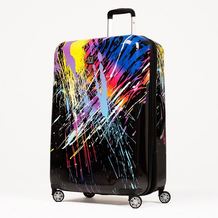 Ful 80's Rainbow 24 Inch Expandable Spinner Rolling Luggage Suitcase, ABS Hard Case, Upright, Multi/Rainbow