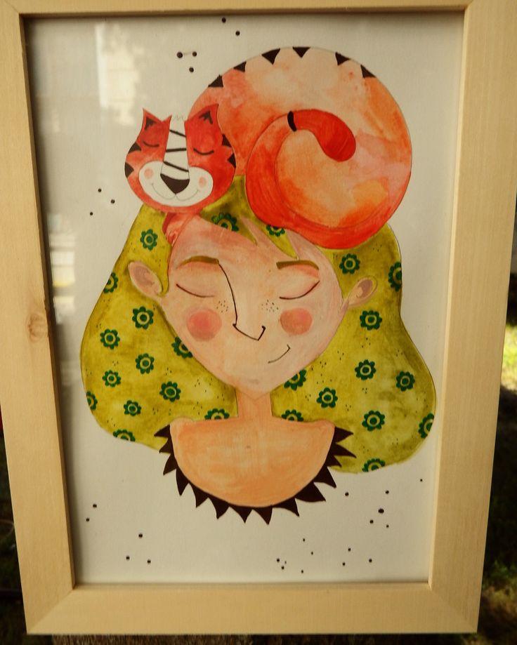 martonszimona#martonszimona #greenhair #greenhairgirl #orangecat #catillustration #watercolor #bookillustration #flowersinhair #frends #Illustration
