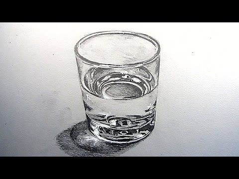 How to Draw a Glass of Water - Art materials used: 4B Pencil, Dove Grey Paper, Soft Pastel (White), Eraser.