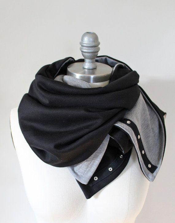 Cozy Yoga Infinity Scarf, Snap Scarf, Gray and Black Infinity Scarf, Nursing Scarf