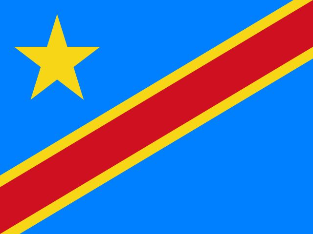 Flag of Democratic Republic of the Congo.  Democratic Republic of the Congo Quiz - Zaire - third largest country in Africa.  http://www.go4quiz.com/1137/democratic-republic-congo-quiz-questions-answers/
